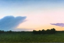 Blue Cloud and Purple Cloud, oil on masonite, 1996